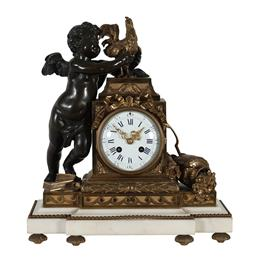 Sale 9245J - Lot 56 - A French 19th century ormolu and bronze salon clock, depicting the cherub with rooster supported on a marble base, H 40cm x W 35cm.