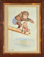 Sale 8394 - Lot 600 - J. Garratt (XX) - Fatherly Advice (After Lawson Wood) 34.5 x 22cm