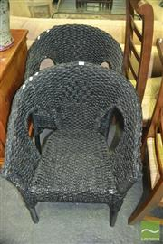 Sale 8383 - Lot 1447 - Pair of Black Painted Natural Fibre Tub Chairs