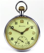 Sale 8402W - Lot 69 - HELVETIA WWII MILITARY OPEN FACE POCKET WATCH; white dial (discoloured glass) Arabic numerals, subsidiary seconds on a 15 jewell Cal...