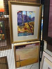Sale 8726 - Lot 2032 - Val Landa (1940 - ) (2 works),  Desert Series, acrylic on paintings, framed and various sizes,