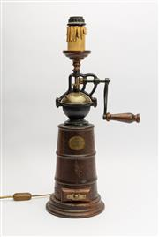 Sale 8775 - Lot 100 - An unusual turned wood and metal coffee grinder table lamp, H x 56cm