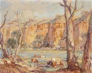 Sale 8773 - Lot 559 - Hans Heysen (1877 - 1968) - Murray River Cliffs, 1916 31 x 39.5cm