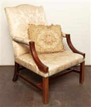 Sale 8871H - Lot 127 - An Irish Gainsborough mahogany library armchair with pale gold silk brocade upholstery by Rubelli. (damage  in some areas), Height o...