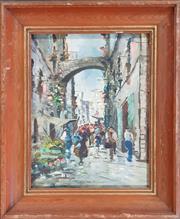 Sale 8978 - Lot 2034 - Artist Unknown Italian Street Scene oil, 48 x 44cm, signed under frame