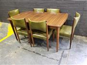 Sale 9022 - Lot 1055 - Chiswell 7 Piece Dining Suite with Extension Table and 6 Green Upholstered Chairs (h:74 x w:152 x d:92cm)