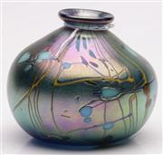 Sale 9052 - Lot 39 - A Signed Art Glass Squat Vase Marked to Base Mark Galton 2009 (H 9.5cm)