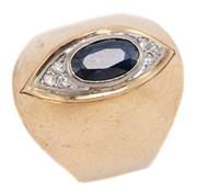 Sale 9074 - Lot 338 - A RETRO 9CT GOLD SAPPHIRE AND DIAMOND RING; tapered mount set with an approx. 1ct blue oval cut sapphire adjacent to 6 round brillia...