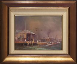 Sale 9139 - Lot 2029 - Robert Todonai (1963 - ) The Old Manly Pier oil on canvas 27.5 x 38 cm (frame: 50 x 60 x 4 cm) signed lower left