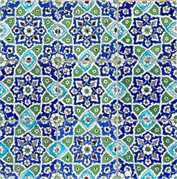 Sale 9130S - Lot 73 - A  Persian Qajar panel  of nine patterned Tiles. 48cm x 48cm Provenance, Nomadic Rug Traders. circa 1850