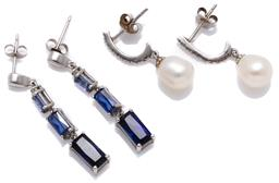 Sale 9213 - Lot 330 - TWO PAIRS OF GEMSET EARRINGS; articulating 10ct white gold drops each set with 3 emerald cut synthetic blue sapphires to stud fittin...