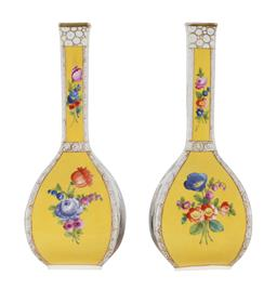 Sale 9245J - Lot 35 - A pair of Dresden 19th century yellow vases, H 46cm x W 79cm.