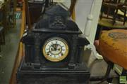 Sale 8416 - Lot 1008 - Early 20th Century Ansonia Black Slate Mantle Clock, of architectural form & with visible escapement