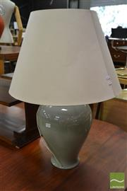 Sale 8515 - Lot 1071 - Pair of Green Crackle Glazed Table Lamps
