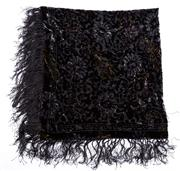 Sale 8640F - Lot 64 - A black velvet fringed shawl/wrap.