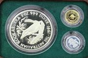Sale 8679 - Lot 380 - THE AUSTRALIAN 1991 FAMILY OF PRECIOUS METALS 3 PROOF COIN SET; Nugget $5 x 1/20oz fine gold, Koala $5 x 1/20oz platinum, Kookaburra...