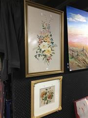Sale 8690 - Lot 2063 - Floral Embroidery & another Floral Study (2)
