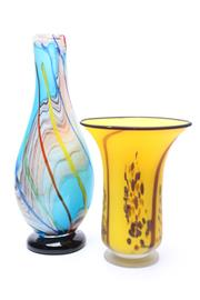 Sale 8719 - Lot 42 - An artglass baluster vase on footed base H x 42cm together with a trumpet form example