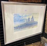 Sale 9011 - Lot 2034 - Artist Unknown - Domed Buildings, watercolour, SLR