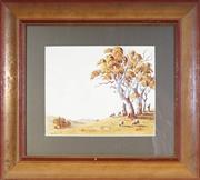 Sale 9053 - Lot 2018 - Victor Robert Watt (1886 - 1970) - Sheep Grazing on a Hill 23.5 x 29.5 cm (frame: 50 x 55 x 4 cm)
