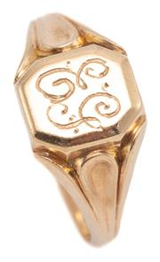Sale 9074 - Lot 392 - A 9CT GOLD SIGNET RING; octagonal cartouche with engraved monogram, size T, top 11 x mm, wt. 4.91g.