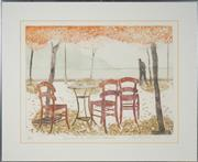 Sale 8509 - Lot 2072 - Elizabeth Vercae-Grieb - Evening on the Waterfront, Skopelos, 1979 45 x 60cm