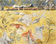 Sale 8504 - Lot 519 - John Wolseley (1938 - ) - Camp with Lin, Bullita, N.T. 73.5 x 93cm