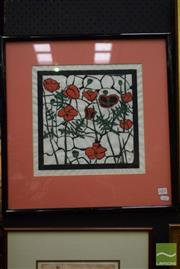Sale 8497 - Lot 2001 - Artist Unknown, Red Poppies, colour woodblock, 29.5 x 29.5cm, initialled lower right