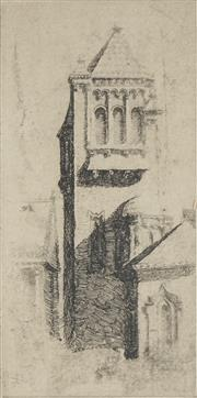Sale 8708A - Lot 596 - Lloyd Rees (1895 - 1988) - A Tower in Europe, 1922 15.5 x 8cm