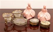 Sale 8804A - Lot 109 - A pair of pink glazed crinoline figures together with dressing table items, Height of ladies 15cm
