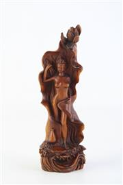 Sale 8815C - Lot 37 - Small Boxwood Carved Lady Figure H:14cm