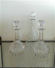 Sale 8858H - Lot 16 - Three Early Glass Decanters, H 30 cm; H 24 cm (2) -