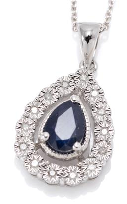 Sale 9169 - Lot 326 - A SILVER SAPPHIRE AND DIAMOND PENDANT NECKLACE; drop shape pendant centring a pear cut blue sapphire of approx. 0.86ct to surround o...