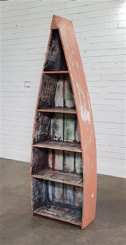 Sale 9191 - Lot 1033 - Boat form bookshelf 9h:194cm)