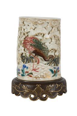 Sale 9245J - Lot 36 - A fine Royal Worcester vase, depicting the simulated ivory tusk with crane in landscape decoration, H 19cm x W 13cm.
