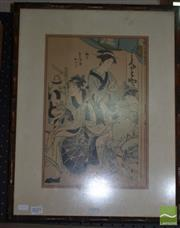 Sale 8506 - Lot 2043 - Artist Unknown (Japanese School) Maid and Maidens, 37 x 24.5cm, inscribed lower right
