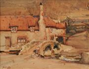 Sale 8675 - Lot 590 - Harold Septimus Power (1878 - 1951) - Cottage at Bossinton, Hampshire 23 x 29cm
