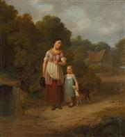 Sale 8867 - Lot 583 - Artist Unknown (C19th) - Provincial Scene with Mother and Child 33.5 x 31.5 cm