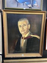 Sale 8891 - Lot 2089 - Geoffery Thompson, Portrait Of Doctor Harry Gregson, Oil On Board, 60 x 50cm