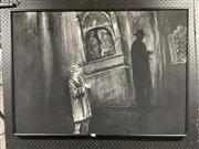 Sale 8932 - Lot 2067 - Margaret Morgan - Nocturnal Chapel Scene charcoal, 77 x 107cm, signed -