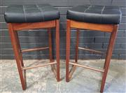 Sale 8984 - Lot 1023 - Pair of Vintage Teak Bar Stools with Upholstered Leather Tops (H:76 x W:40 x D:37cm)