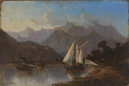 Sale 9116 - Lot 593 - Herbert Arnould Olivier (1861 - 1952) Highland Lake Scene with Sailboats & Distant Views of Mountains oil on canvas (AF) 37 x 54 cm ...