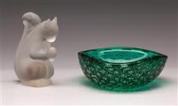 Sale 9114 - Lot 87 - Small art glass bowl (Dia:13cm) together with a Swedish frosted glass paperweight (H:10cm)
