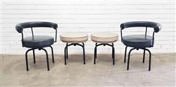 Sale 9151 - Lot 1015 - Pair of LC7 swivel tub chairs by Cassina for Le Corbusier and matching stools (h:70 x d:48cm)