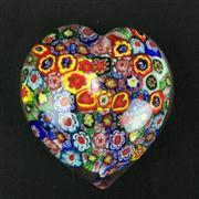 Sale 8402D - Lot 21 - Millefiori Art Glass Heart Shaped Paperweight (Length - 8cm)