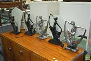 Sale 8440 - Lot 1079 - Pair of Deco Lay Lamps w Another 3 (5)