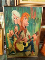 Sale 8663 - Lot 2105A - Brian Woolstone - Street Jam oil on canvas board, 90 x 59cm, signed lower left -