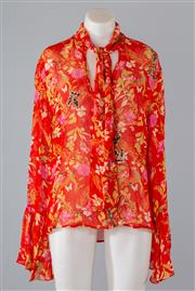 Sale 8800F - Lot 93 - A Millie Mackintosh printed viscose tie-neck blouse with sequined embellishment, size UK 10 (as new, with tags)