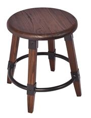 Sale 8957T - Lot 68 - A Pair Round stools. Solid Elm in a Walnut finish. Metal fixtures and bottom ring. W40 x D40 X H45