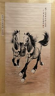 Sale 8994 - Lot 76 - Chinese Horse Scroll, Ink and Colour on Paper